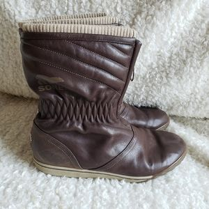 Sorel Firenzy Breve Brown Leather Boots size 9